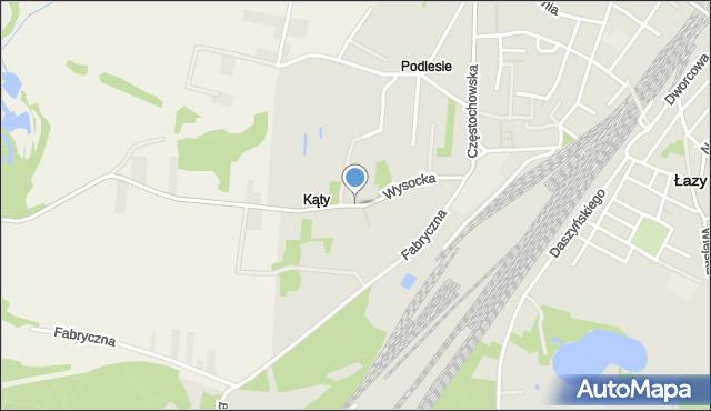 Łazy powiat zawierciański, Wysocka, mapa Łazy powiat zawierciański