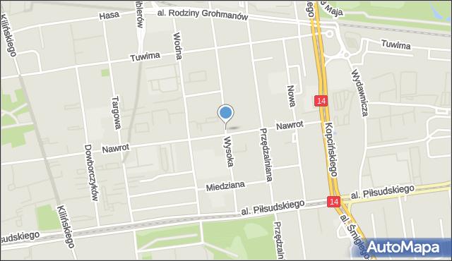 Łódź, Wysoka, mapa Łodzi
