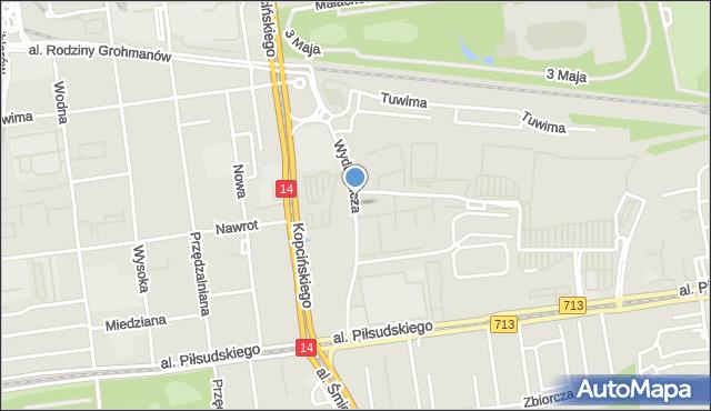Łódź, Wydawnicza, mapa Łodzi