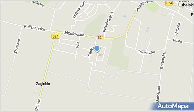 Opole Lubelskie, Wyszyńskiego Stefana, ks. kard., mapa Opole Lubelskie