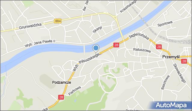Przemyśl, Wybrzeże Józefa Piłsudskiego, marsz., mapa Przemyśla