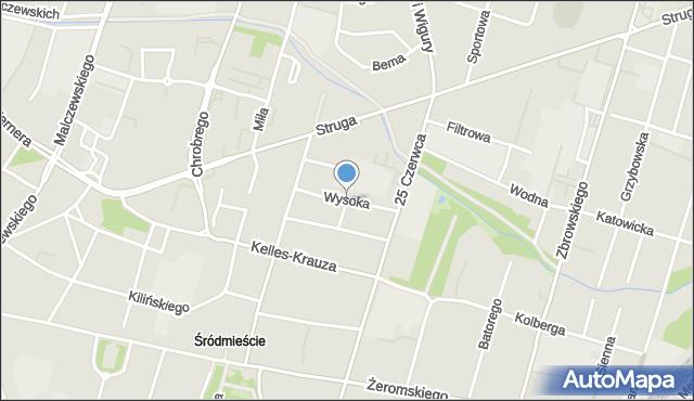 Radom, Wysoka, mapa Radomia
