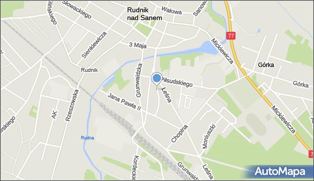 Rudnik nad Sanem, Wyszyńskiego Stefana, ks. prym. kard., mapa Rudnik nad Sanem