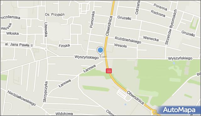 Tarnowskie Góry, Wyszyńskiego Stefana, ks. kard., mapa Tarnowskie Góry