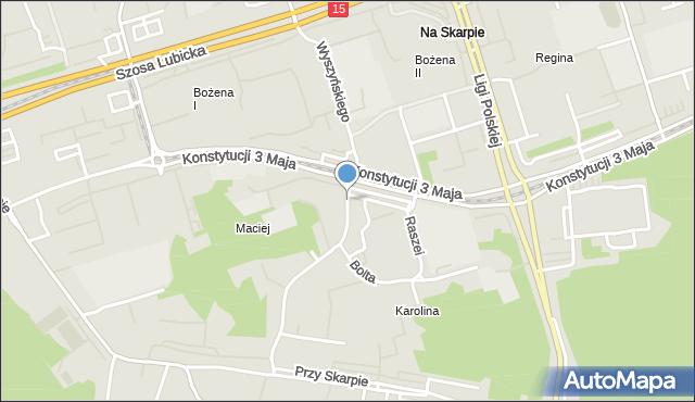 Toruń, Wyszyńskiego Stefana, ks. kard., mapa Torunia