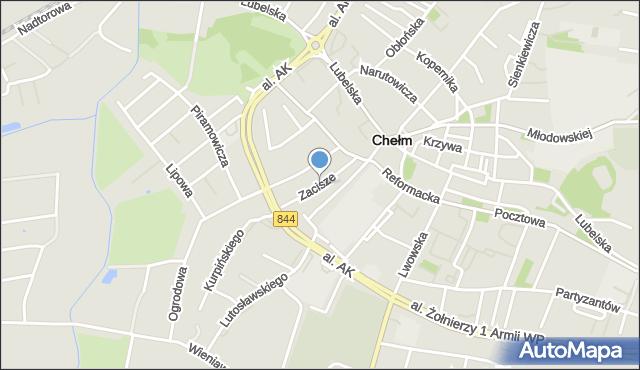 Chełm, Zacisze, mapa Chełma