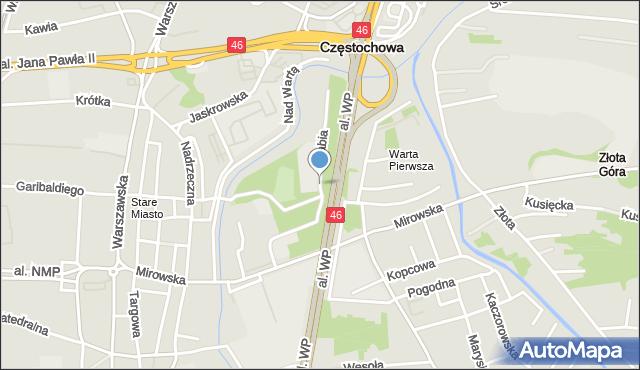Częstochowa, Żabia, mapa Częstochowy