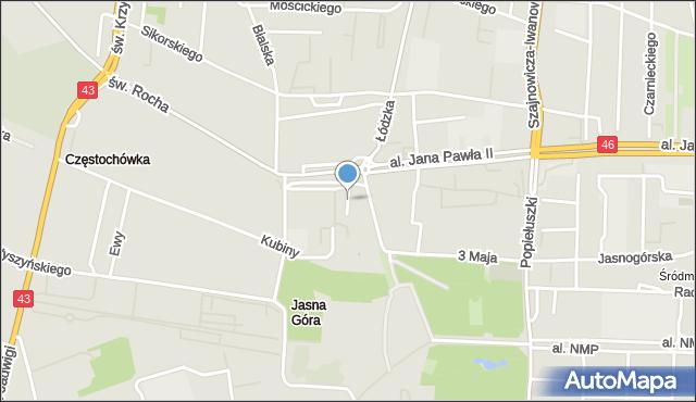Częstochowa, Zaułek Wieluński, mapa Częstochowy