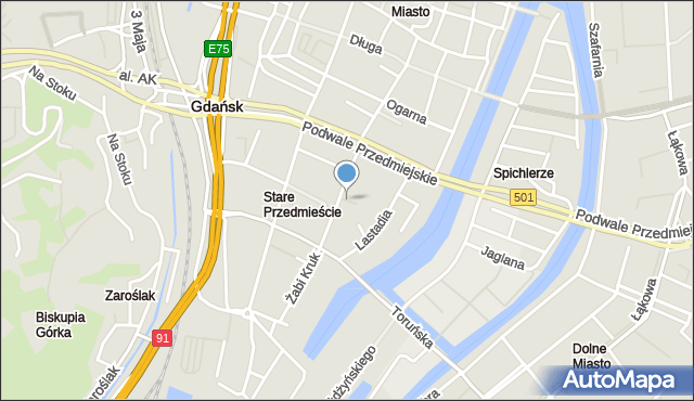 Gdańsk, Zaułek Ormiański, mapa Gdańska