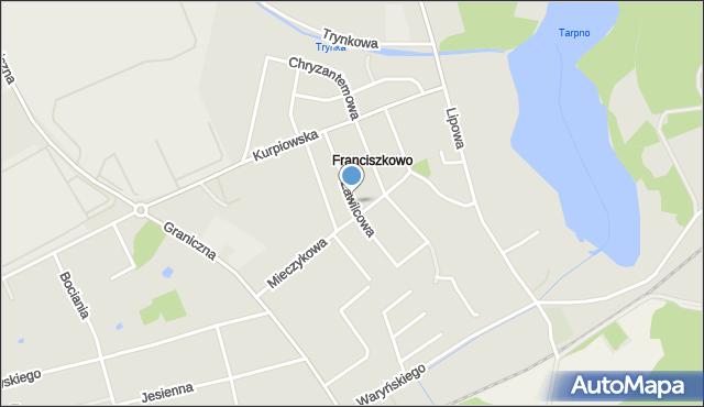 Grudziądz, Zawilcowa, mapa Grudziądza