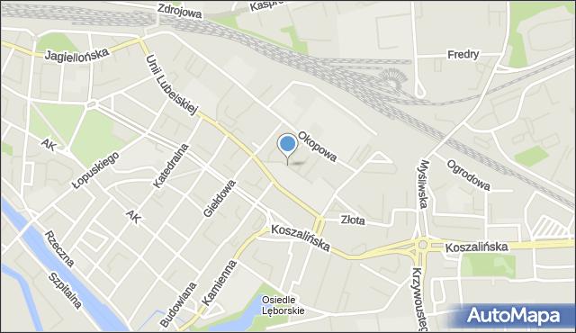 Kołobrzeg, Zapleczna, mapa Kołobrzegu