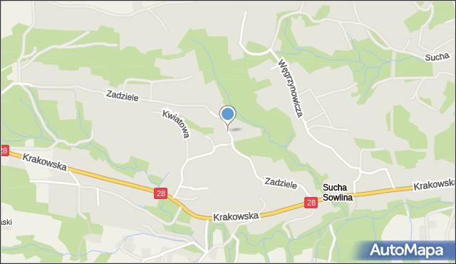 Limanowa, Zadziele, mapa Limanowa