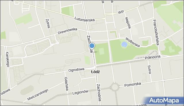 Łódź, Zachodnia, mapa Łodzi