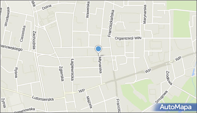 Łódź, Zawiszy Czarnego, mapa Łodzi