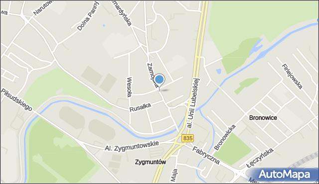 Lublin, Zamojska, mapa Lublina