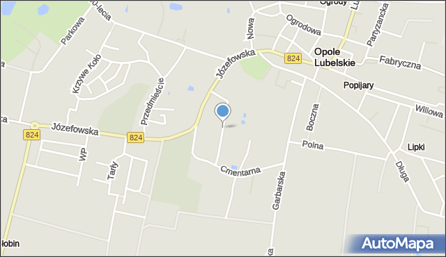 Opole Lubelskie, Zajezierze, mapa Opole Lubelskie