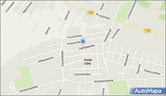 Radom, Zakrzewska, mapa Radomia