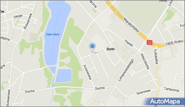 Radom, Zalewowa, mapa Radomia