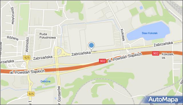 Ruda Śląska, Zabrzańska, mapa Rudy Śląskiej