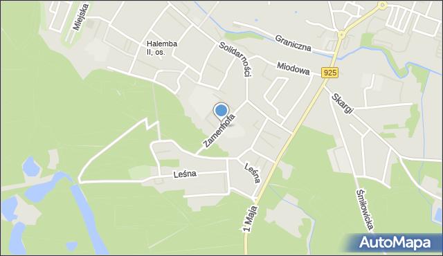 Ruda Śląska, Zamenhofa Ludwika, dr., mapa Rudy Śląskiej