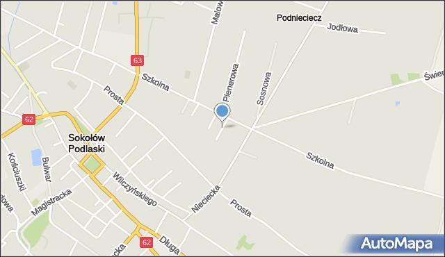 Sokołów Podlaski, Zakątek, mapa Sokołów Podlaski