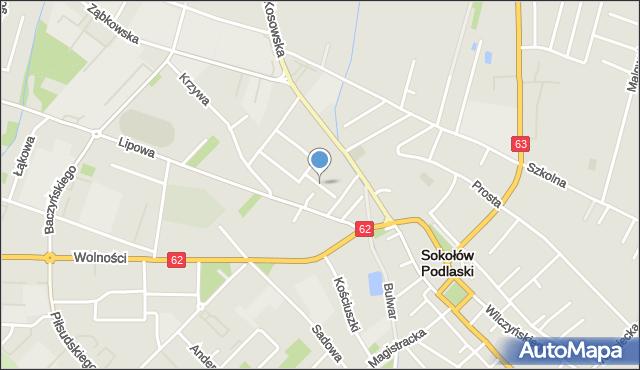 Sokołów Podlaski, Zaułek, mapa Sokołów Podlaski