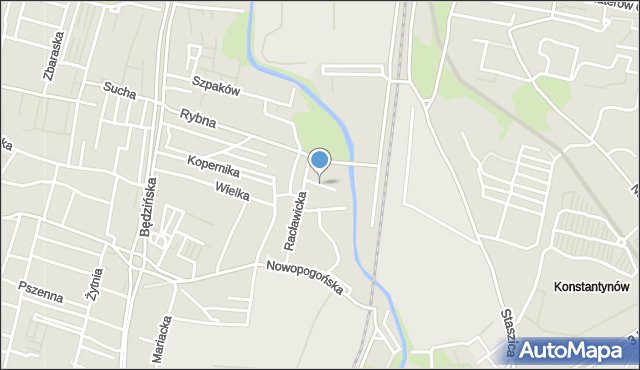 Sosnowiec, Zacisze, mapa Sosnowca
