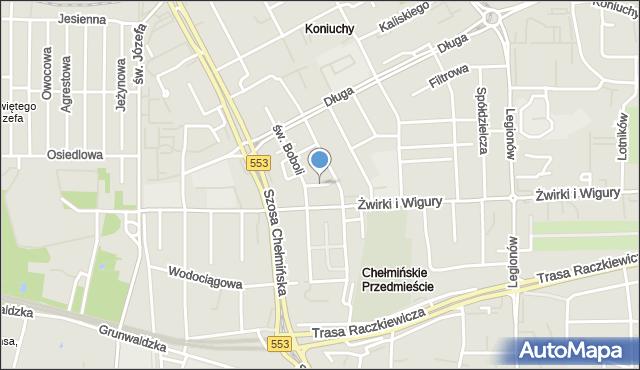 Toruń, Zacisze, mapa Torunia