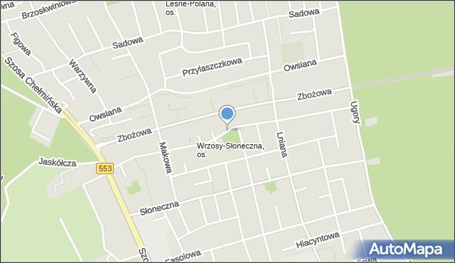 Toruń, Zagonowa, mapa Torunia