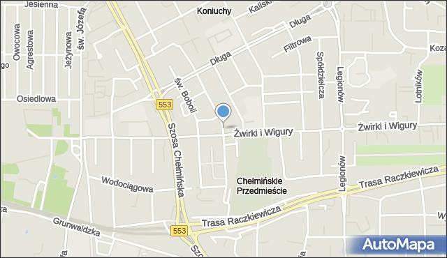 Toruń, Zamenhofa Ludwika, dr., mapa Torunia