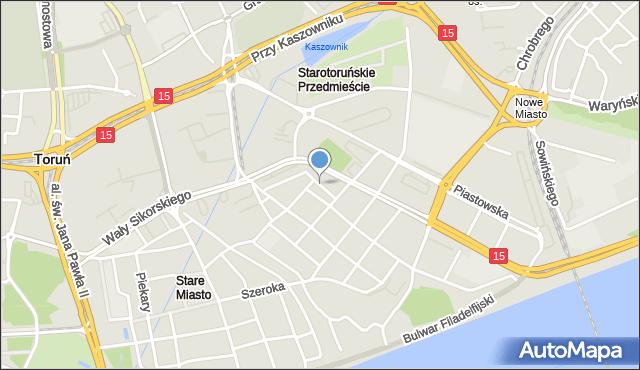 Toruń, Zaszpitalna, mapa Torunia