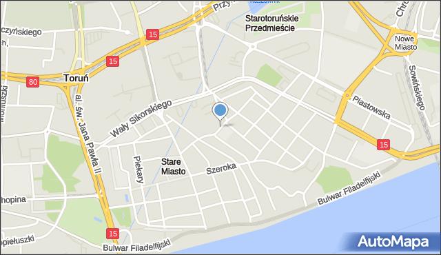 Toruń, Zaułek Prosowy, mapa Torunia