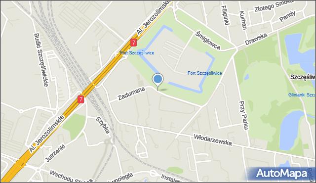 Warszawa, Zadumana, mapa Warszawy