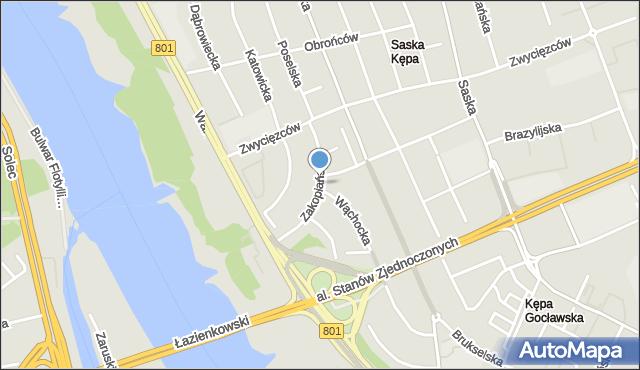 Warszawa, Zakopiańska, mapa Warszawy