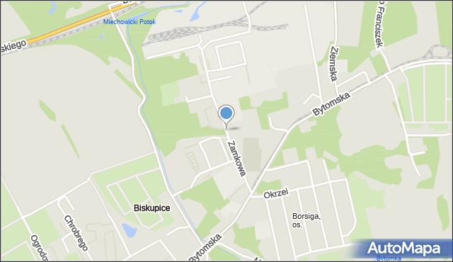 Zabrze, Zamkowa, mapa Zabrza