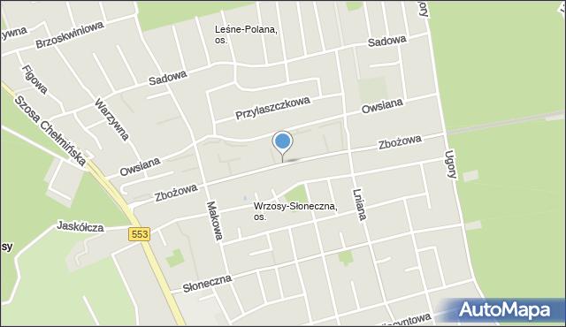 Toruń, Zbożowa, mapa Torunia