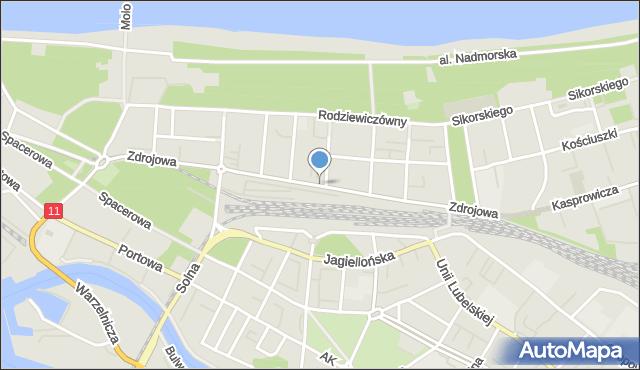 Kołobrzeg, Zdrojowa, mapa Kołobrzegu