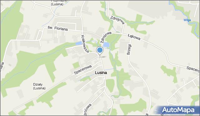 Lusina gmina Mogilany, Zdrojowa, mapa Lusina gmina Mogilany