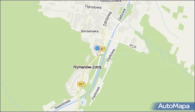 Rymanów-Zdrój, Zdrojowa, mapa Rymanów-Zdrój