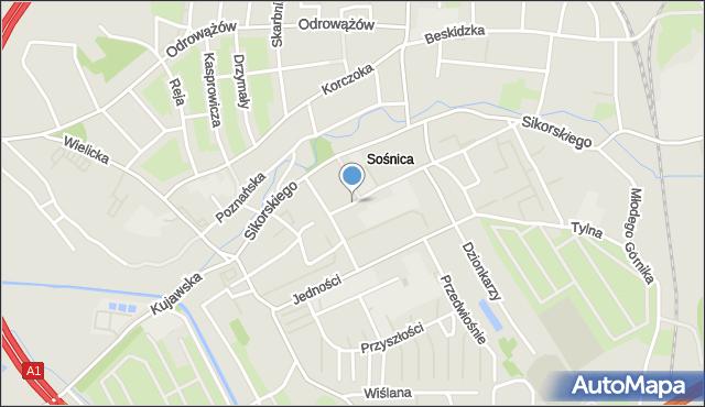 Gliwice, Żeromskiego Stefana, mapa Gliwic