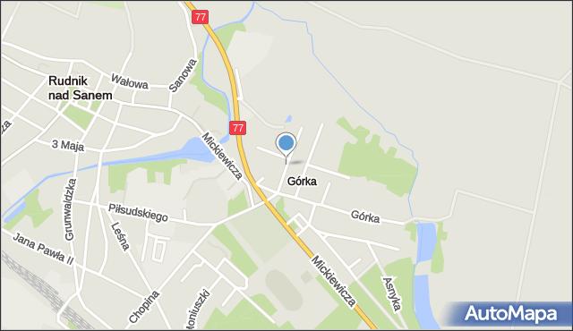 Rudnik nad Sanem, Żeromskiego Stefana, mapa Rudnik nad Sanem