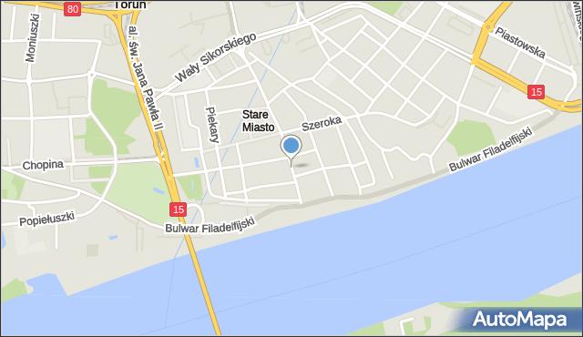 Toruń, Żeglarska, mapa Torunia