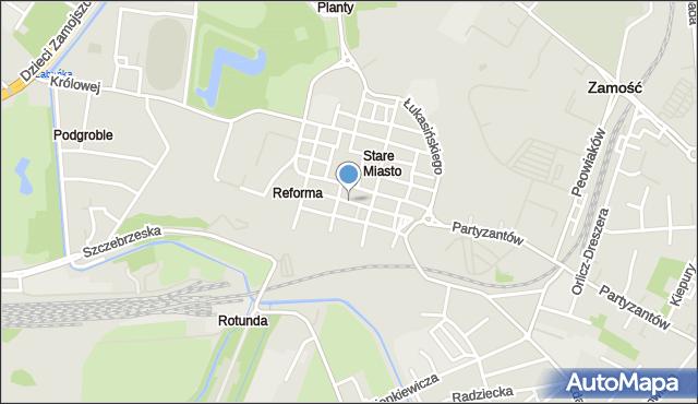 Zamość, Żeromskiego Stefana, mapa Zamościa