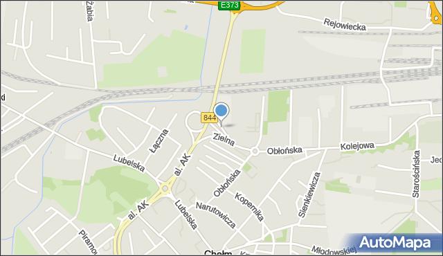 Chełm, Zielna, mapa Chełma