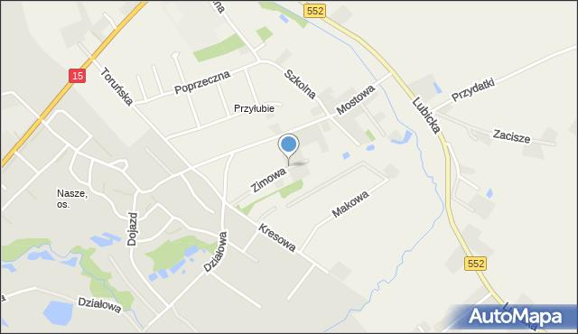 Grębocin gmina Lubicz, Zimowa, mapa Grębocin gmina Lubicz