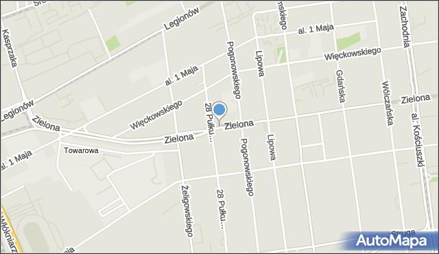 Łódź, Zielona, mapa Łodzi