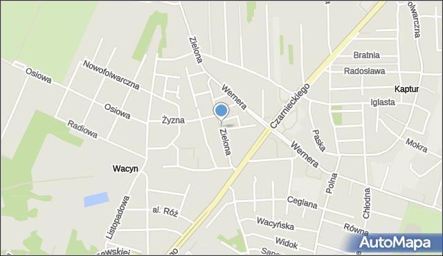 Radom, Zielona, mapa Radomia