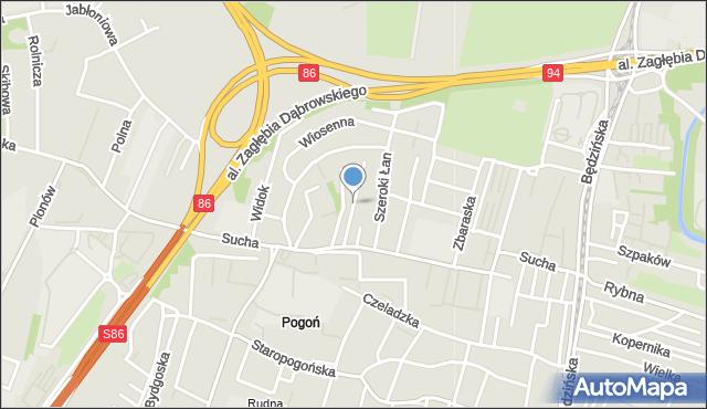 Sosnowiec, Zimowa, mapa Sosnowca