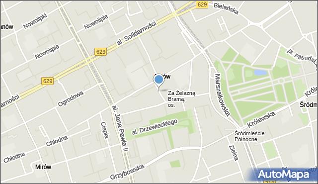Warszawa, Zimna, mapa Warszawy