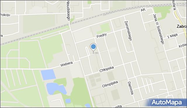 Zabrze, Zieleniewskiego, mapa Zabrza